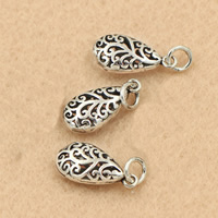 Hollow Brass Pendants, Teardrop, antique silver color plated, lead & cadmium free, 8x21mm, Hole:Approx 2-3mm, 5PCs/Bag, Sold By Bag