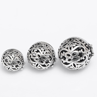 Brass European Prayer Box Pendant, Round, antique silver color plated, different size for choice & hollow, lead & cadmium free, Hole:Approx 2-3mm, 2PCs/Bag, Sold By Bag
