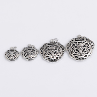Hollow Brass Pendants, Longevity Lock, antique silver color plated, different size for choice, lead & cadmium free, Hole:Approx 2-3mm, 2PCs/Bag, Sold By Bag