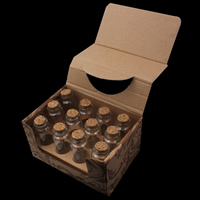 Glass Wish Bottle, with wood stopper, transparent, 30x80mm, 12PCs/Box, Sold By Box