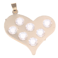 Brass Heart Pendants, with Crystal, gold color plated, faceted, nickel, lead & cadmium free, 36x35x5mm, Hole:Approx 4x5mm, Sold By PC