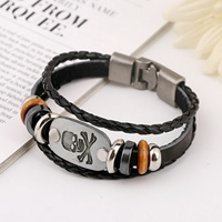 Cowhide Bracelet, with Wood & Zinc Alloy, plated, with skull pattern & 3-strand, nickel, lead & cadmium free, 10mm, Length:Approx 7.8 Inch, 20Strands/Lot, Sold By Lot