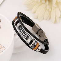 Cowhide Bracelet, with Wood & Zinc Alloy, word love, plated, 3-strand, nickel, lead & cadmium free, 10mm, Length:Approx 7.8 Inch, 20Strands/Lot, Sold By Lot