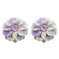 Fluted Giant Connector, Flower, 1/1 loop & layered, purple, 51x16mm, Hole:Approx 2mm, Sold By PC