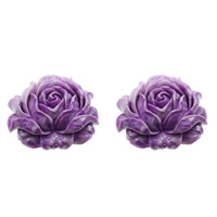 Fluted Giant Connector, Flower, 1/1 loop & layered, purple, 56x48x20mm, Hole:Approx 1mm, Sold By PC