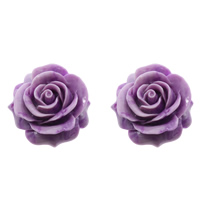 Fluted Giant Connector, Flower, 1/1 loop & layered, purple, 43x44x18mm, Hole:Approx 2mm, Sold By PC