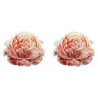 Fluted Giant Connector, Flower, 1/1 loop & layered, shell pink, 55x49x21mm, Hole:Approx 1mm, Sold By PC
