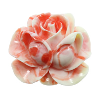 Fluted Giant Connector, Flower, 1/1 loop & layered, shell pink, 50x49x22mm, Hole:Approx 1mm, Sold By PC