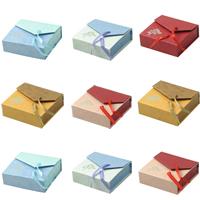 Kartonowe pudełko na bransoletkę, Tektura, ze Satynowa wstążka, Prostokąt, dostępnych więcej kolorów, 90x90x30mm, 48komputery/wiele, sprzedane przez wiele