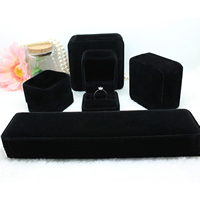 Velveteen Jewelry Set Box, with Glue Film, different styles for choice, black, 20PCs/Lot, Sold By Lot
