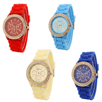 Women Wrist Watch, Silicone, with Glass & Zinc Alloy, rose gold color plated, with rhinestone, more colors for choice, nickel, lead & cadmium free, 40mm, Length:Approx 9.6 Inch, Sold By PC