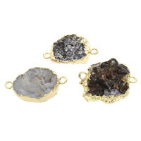 Druzy Connector Ice Quartz Agate with Brass natural druzy style   mixed   1/1 loop 25x17x7mm-37x24x15mm Hole:Approx 2mm 5PCs/Bag