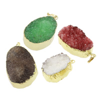 Ice Quartz Agate Findings, with Brass, natural, druzy style & mixed, 23x33x14mm-27x44x22mm, Hole:Approx 5x7mm, 5PCs/Bag, Sold By Bag