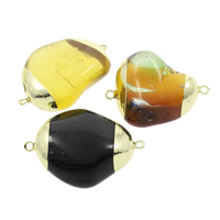 Agate Connector Mixed Agate with Brass natural 1/1 loop 38x29x16mm-42x31x13mm Hole:Approx 2mm 5PCs/Bag