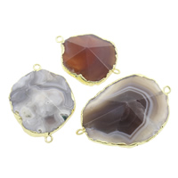 Agate Connector Mixed Agate with Brass natural 1/1 loop 36x26x8.5mm-48x35x11mm Hole:Approx 2mm 5PCs/Bag