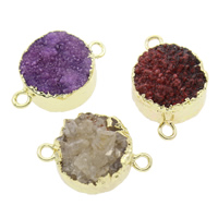 Druzy Connector Ice Quartz Agate with Brass Flat Round natural druzy style   1/1 loop mixed colors 22x15x9mm Hole:Approx 2mm 5PCs/Bag