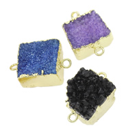 Druzy Connector Ice Quartz Agate with Brass natural druzy style   mixed   1/1 loop 21x16x9mm-25x17x13mm Hole:Approx 2mm 5PCs/Bag