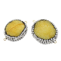 Druzy Connector Ice Quartz Agate with Rhinestone Clay Pave   Brass Flat Oval natural druzy style   1/1 loop 37x27x12mm-42x30x13mm Hole:Approx 2mm 5PCs/Bag