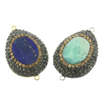 Gemstone Connector, with Rhinestone Clay Pave & Brass, natural, mixed & 1/1 loop, 26x42x6.5mm-26x42x7mm, Hole:Approx 2mm, 5PCs/Bag, Sold By Bag