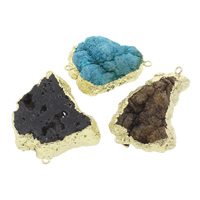 Druzy Connector Ice Quartz Agate with Brass natural druzy style   mixed   1/1 loop 39x27x15mm-50x32x7.5mm Hole:Approx 2mm 5PCs/Bag