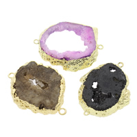 Druzy Connector Ice Quartz Agate with Brass natural druzy style   mixed   1/1 loop 44x35x8mm-46x37x6mm Hole:Approx 2mm 5PCs/Bag
