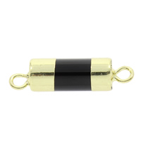 Black Agate Connector, with Brass, Column, natural, 1/1 loop, 30x8mm, Hole:Approx 2mm, 5PCs/Bag, Sold By Bag