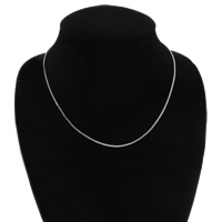Brass Chain Necklace, platinum color plated, box chain, nickel, lead & cadmium free, 1mm, Sold Per Approx 17 Inch Strand
