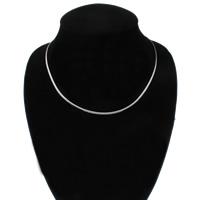 Messing halsketting ketens, platinum plated, twist ovale keten, nikkel, lood en cadmium vrij, 2x0.5mm, Per verkocht Ca 17 inch Strand