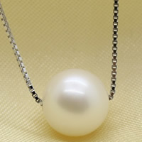 925 Sterling Silver Pearl Necklace, Freshwater Pearl, with sterling silver chain, Round, natural, different size for choice & box chain, white, Sold Per Approx 17 Inch Strand