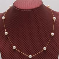 Srebrny naszyjnik z perłami, Perła naturalna słodkowodna, ze Srebro łańcucha, Koło, Platerowane prawdziwym złotem, naturalny & różnej wielkości do wyboru & pole łańcucha, biały, sprzedawane na około 17.5 cal Strand