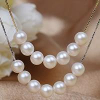 Srebrny naszyjnik z perłami, Perła naturalna słodkowodna, ze Srebro łańcucha, Koło, Powlekane, naturalny & pole łańcucha, mieszane kolory, 6-7mm, długość:około 17.5 cal, 2nici/torba, sprzedane przez torba