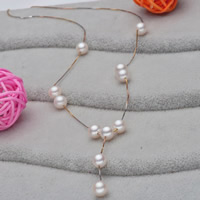 925 Sterling Silver Pearl Necklace, Freshwater Pearl, with sterling silver chain, Round, plated, natural & box chain, white, 7-8mm, Sold Per Approx 17.5 Inch Strand