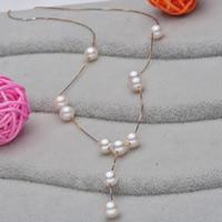 Srebrny naszyjnik z perłami, Perła naturalna słodkowodna, ze Srebro łańcucha, Koło, Powlekane, naturalny & pole łańcucha, biały, 7-8mm, sprzedawane na około 17.5 cal Strand