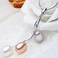 925 Sterling Silver Pearl Necklace, Freshwater Pearl, with sterling silver chain, Teardrop, natural, snake chain, multi-colored, 7-8mm, Sold Per Approx 17 Inch Strand