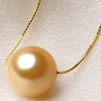 Golden South Sea Pearl Necklace, with Brass, Round, natural, different size for choice & box chain, gold, Sold Per Approx 17.5 Inch Strand