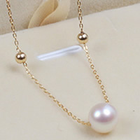 Natural Akoya Cultured Pearl Necklace, Akoya Cultured Pearls, with Brass, Round, oval chain, white, 8mm, Sold Per Approx 17.5 Inch Strand