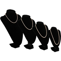 Velveteen Necklace Display with Wood black