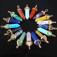 Gemstone Pendants Jewelry with Brass pendulum gold color plated different materials for choice nickel lead   cadmium free 36-40x8mm Hole:Approx 3x4mm
