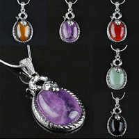 Gemstone Pendants Jewelry Zinc Alloy with Gemstone Flat Oval platinum color plated natural   different materials for choice nickel lead   cadmium free 24x42mm Hole:Approx 3x5mm