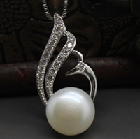 Freshwater Pearl Pendants, with Brass, Phoenix, silver color plated, natural & micro pave cubic zirconia, white, 10-10.5mm, Hole:Approx 3-7mm, Sold By PC