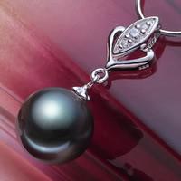 Таитянский Жемчуг подвеска, с Латунь, Круглая, натуральный, инкрустированное микро кубического циркония, черный, 10-11mm, отверстие:Приблизительно 3-7mm, продается PC
