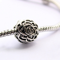 Brass European Clip Flower antique silver color plated nickel lead   cadmium free 12mm Hole:Approx 2.5mm 5PCs/Lot
