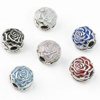 Brass European Clip Flower silver color plated enamel nickel lead   cadmium free Hole:Approx 3mm 5PCs/Lot