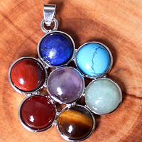 Gemstone Pendants Jewelry Brass with Gemstone Flower natural 40x33mm Hole:Approx 3x4mm