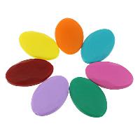 Koraliki silikonowe, Silikon, Płaski owal, Zatwierdzenia przez FDA, dostępnych więcej kolorów, 40x25x9mm, otwór:około 2mm, 50komputery/torba, sprzedane przez torba