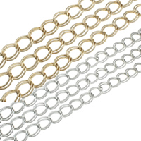 Iron Jewelry Chain, plated, double link chain, more colors for choice, nickel, lead & cadmium free, 12.50x9.50x1.50mm, 47m/Bag, Sold By Bag