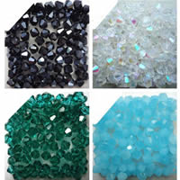 Bicone Crystal Beads, Krystal, AB farve forgyldt, facetteret, flere farver til valg, 4mm, Hole:Ca. 1mm, Ca. 100pc'er/Bag, Solgt af Bag