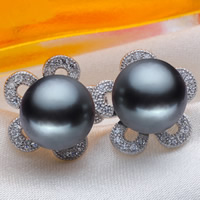 Tahitian Pearls Stud Earring with Brass Flower natural micro pave cubic zirconia black 9-10mm