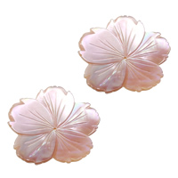 Naturalnie różowa muszla - koralik, Muszla różowa, Kwiat, Naturalne, 33.50x33x1.50mm, otwór:około 1mm, 10komputery/wiele, sprzedane przez wiele