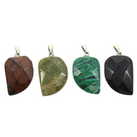 Gemstone Pendants Jewelry with brass bail natural faceted 16x27x6mm Hole:Approx 3x6mm